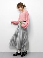 ピンクニット フレアプリーツスカート