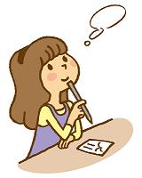 年賀状に書くことを考える女性 イラスト