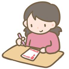 年賀状を書く女性 イラスト