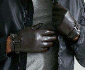 スマホ対応手袋 メンズ ラムレザー