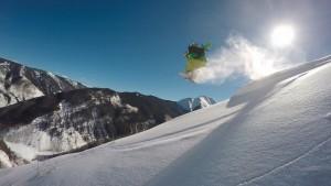 スノーボード 雪山 太陽