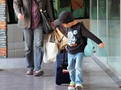 旅行する親子