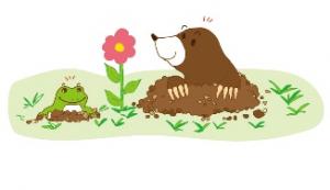 春 モグラ カエル イラスト