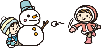 子供 雪だるま 雪遊び イラスト
