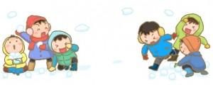 雪合戦する子供たち イラスト