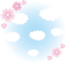桜と雲と空 イラスト