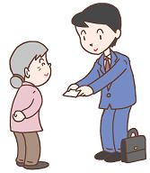 おばあちゃん ビジネスマン 名刺 イラスト