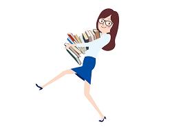 本をたくさん抱える女性 イラスト