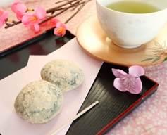 梅 草餅 お茶