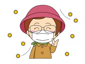 花粉症対策 帽子 コート マスク 女性 イラスト