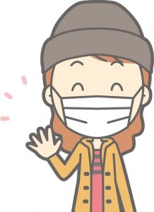 花粉症対策 帽子 マスク 女性 イラスト