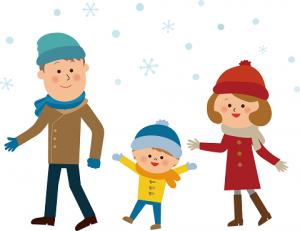 家族 雪 お出かけ イラスト