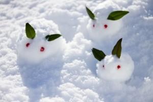 雪で作ったうさぎ