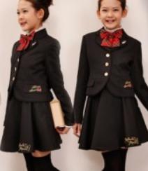 女の子 無地のスカートスーツ チェック柄リボン 入学式