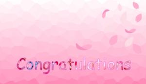 congratulationの文字と桜のイラスト