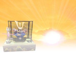 端午の節句 兜飾り 陽の光