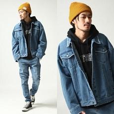 デニムジャケット ニット帽