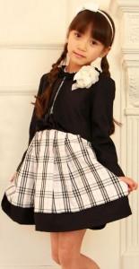 女の子 チェックのワンピース ノーカラージャケット 入学式