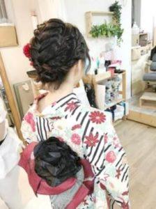 ミディアム 髪型 編み込みアップスタイル 着物