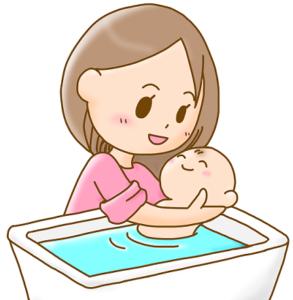 赤ちゃんを湯船に入れる母親 イラスト