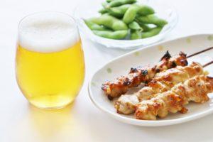 ビール 焼き鳥 枝豆