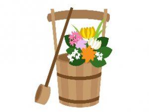 お墓参り 手桶と供花