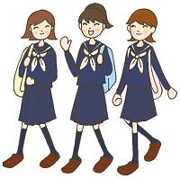 女子 学生 3人 イラスト