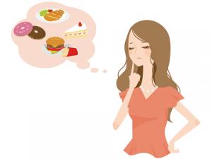 カロリーの高いものを食べようかどうか迷ってる女性 イラスト