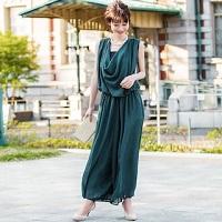 グリーン パンツドレス