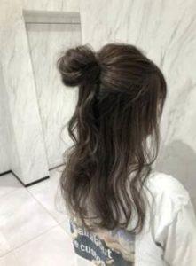 ロング ハーフアップ 髪型