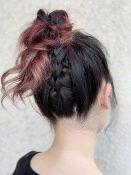 ロング 編み込み お団子 髪型