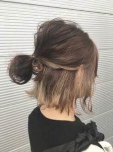 ミディアム 髪型 ハーフアップ お団子