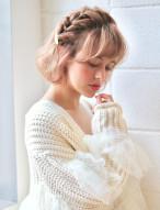 編み込み 髪型 ショートヘア