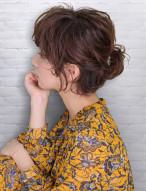 ハーフアップ 髪型 ショートヘア