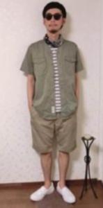ハーフパンツ ハンチング帽 メンズコーデ