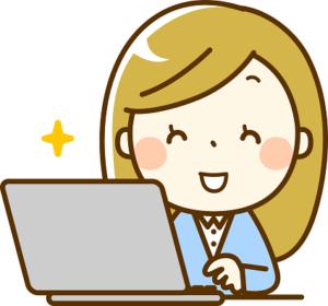 ノートパソコンを操作する笑顔のOL イラスト