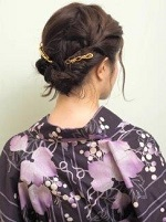 編み込み くるりんぱ 女性 浴衣 ボブヘア