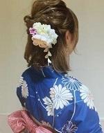 編み込み ねじり編み 女性 浴衣 ボブヘア サイドアップ