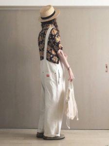 アロハシャツ デニムサロペット 女性