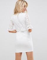 袖レース ホワイトドレス