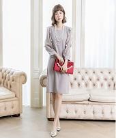 フリルワンピースドレス 50代
