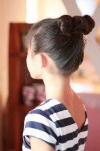 小学生 女子 髪型 ミディアム お団子 リボン