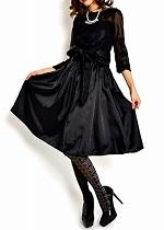 Aライン デザインドレス 黒