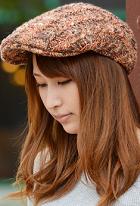ガーリーコーデ ハンチング帽