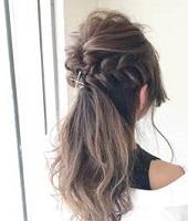 ハーフアップ 巻き髪