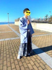 成人式 男性 ブルー系の袴