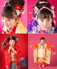 八重梅の髪飾りを付けた着物姿の女の子たち
