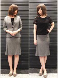 女子 グレーのスカートスーツ 長めのフレアスカート