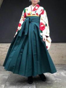 大学卒業式 女子 浴衣を使った袴コーデ ブーツ