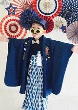 七五三 袴を着た男の子 サングラス 帽子